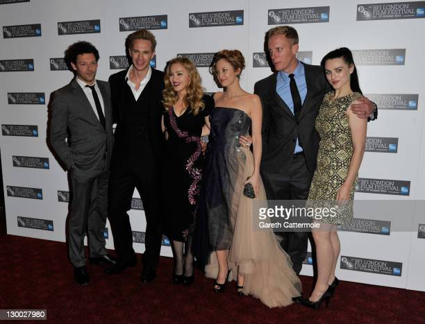 Actors Richard Coyle James D'Arcy filmmaker Madonna Andrea Riseborough Laurence Fox and Katie McGrath attend the 'WE' premiere during the 55th BFI...