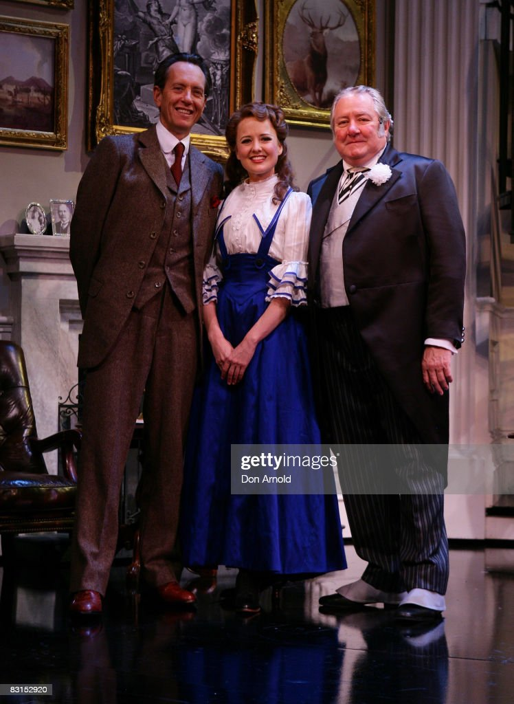 Actors Richard E GrantTaryn Fiebig and John Wood pose at the media launch for the new stage production of the musical 'My Fair Lady' at the Theatre...