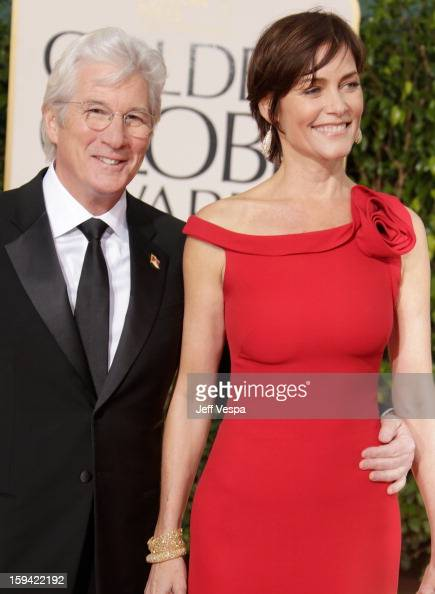 Actors Richard Gere and Carey Lowell arrive at the 70th Annual Golden Globe Awards held at The Beverly Hilton Hotel on January 13 2013 in Beverly...
