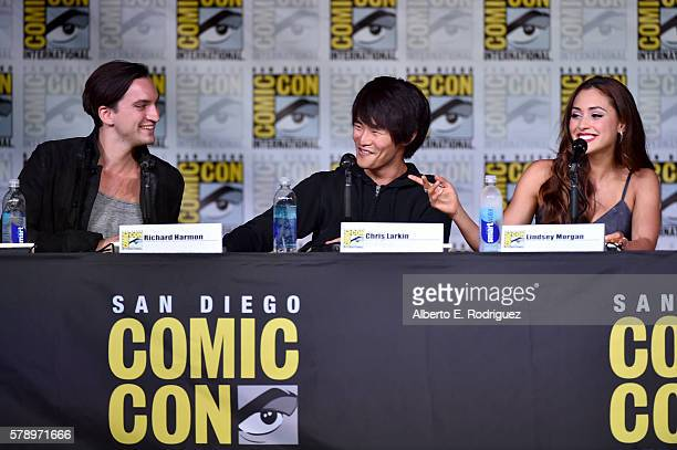 Actors Richard Harmon Christopher Larkin and Lindsey Morgan attend 'The 100' Special Video Presentation And QA during ComicCon International 2016 at...