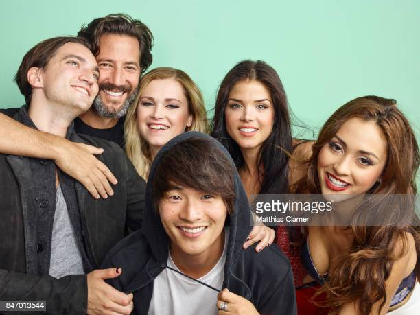 Actors Richard Harmon Henry Ian Cusick Eliza Taylor Christopher Larkin Marie Avgeropoulos and Lindsey Morgan from 'The 100' are photographed for...