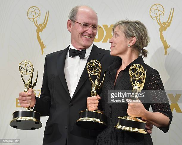 Actors Richard Jenkins winner of Outstanding Lead Actor in a Limited Series or Movie for 'Olive Kitteridge' and Frances McDormand winner of...