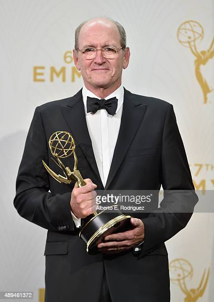 Actors Richard Jenkins winner of Outstanding Lead Actor in a Limited Series or Movie for 'Olive Kitteridge' poses in the press room at the 67th...