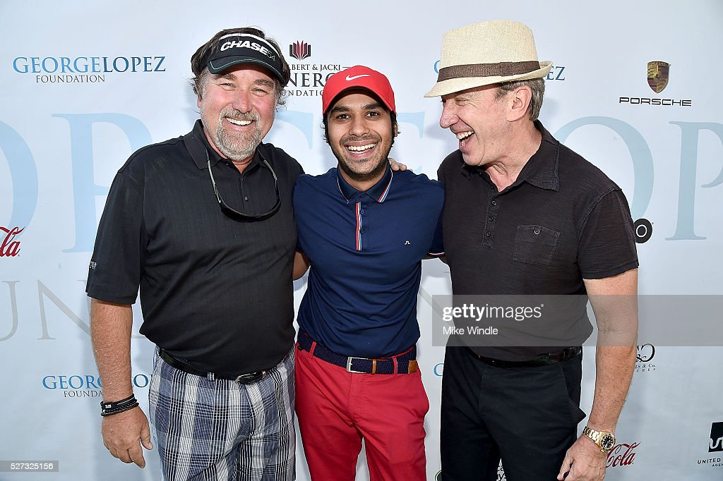 Actors Richard Karn, Kunal Nayyar and Tim Allen attend the 9th Annual George Lopez Celebrity Golf Classic to benefit The George Lopez Foundation at Lakeside Golf Club on May 2, 2016 in Burbank, California.