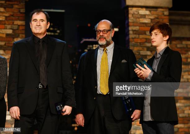 Actors Richard Kind Fred Melamed and Aaron Wolff onstage at the 25th Film Independent Spirit Awards held at Nokia Theatre LA Live on March 5 2010 in...