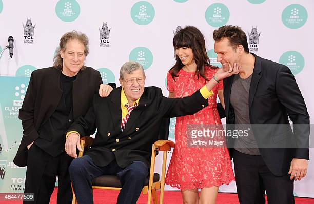 Actors Richard Lewis Jerry Lewis Illeana Douglas and Dane Cook attend the 2014 TCM Classic Film Festival Jerry Lewis Hand And Footprint Ceremony at...