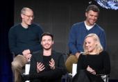 Actors Richard Madden Abbie Cornish David Zucker Executive Producer and Paul Scheuring Writer and Executive Producer speak onstage during the...
