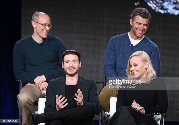 Actors Richard Madden Abbie Cornish David Zucker Executive Producer and Paul Scheuring Writer and Executive Producer speak onstage during the...
