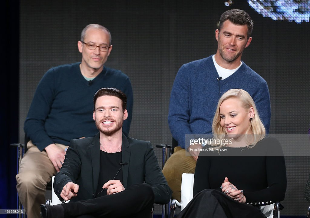 Actors Richard Madden, Abbie Cornish (back row L-R) David Zucker, Executive Producer, and Paul Scheuring, Writer and Executive Producer, speak onstage during the 'Discovery Channel - Klondike' panel discussion at the Discovery Communications portion of the 2014 Winter Television Critics Association tour at the Langham Hotel on January 9, 2014 in Pasadena, California.