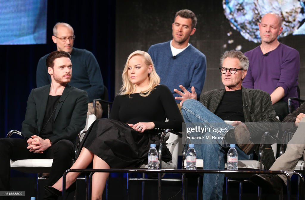 Actors Richard Madden, Abbie Cornish, Sam Shepard (back row L-R) David Zucker, Executive Producer, Paul Scheuring, Writer and Executive Producer, and Simon Cellan Jones, Director, speak onstage during the 'Discovery Channel - Klondike' panel discussion at the Discovery Communications portion of the 2014 Winter Television Critics Association tour at the Langham Hotel on January 9, 2014 in Pasadena, California.