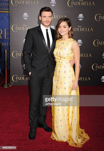 Actors Richard Madden and Jenna Coleman arrive at the World Premiere of Disney's 'Cinderella' at the El Capitan Theatre on March 1 2015 in Hollywood...