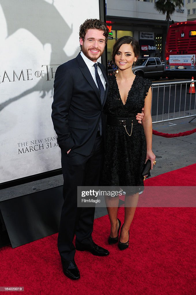 Actors <a gi-track='captionPersonalityLinkClicked' href=/galleries/search?phrase=Richard+Madden&family=editorial&specificpeople=8954998 ng-click='$event.stopPropagation()'>Richard Madden</a> (L) and <a gi-track='captionPersonalityLinkClicked' href=/galleries/search?phrase=Jenna-Louise+Coleman&family=editorial&specificpeople=2234221 ng-click='$event.stopPropagation()'>Jenna-Louise Coleman</a> attend 'Game Of Thrones' Los Angeles premiere presented by HBO at TCL Chinese Theatre on March 18, 2013 in Hollywood, California.
