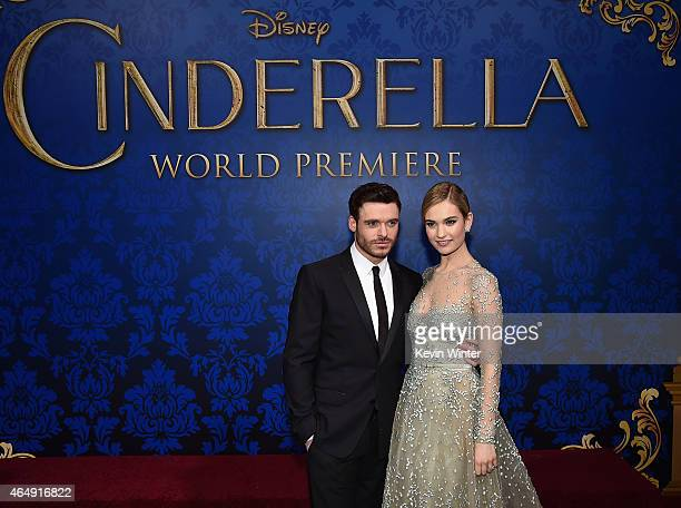 Actors Richard Madden and Lily James attend the premiere of Disney's 'Cinderella' at the El Capitan Theatre on March 1 2015 in Hollywood California
