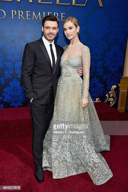 "Actors Richard Madden and Lily James attend the World Premiere of Disney's ""Cinderella"" Kenneth Branagh's breathtaking liveaction feature at the..."