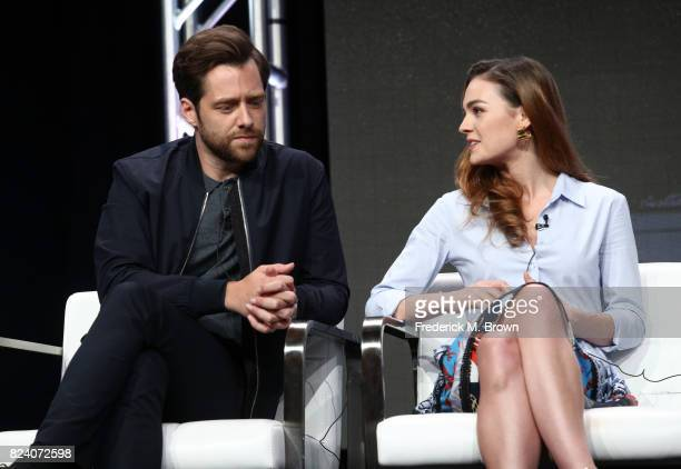 Actors Richard Rankin and Sophie Skelton of 'Outlander' speak onstage during the Starz portion of the 2017 Summer Television Critics Association...
