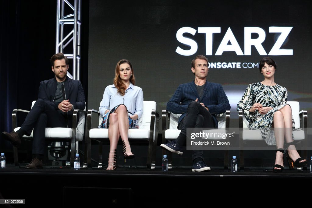 Actors Richard Rankin, Sophie Skelton, Tobias Menzies and Caitriona Balfe of 'Outlander' speak onstage during the Starz portion of the 2017 Summer Television Critics Association Press Tour at The Beverly Hilton Hotel on July 28, 2017 in Beverly Hills, California.