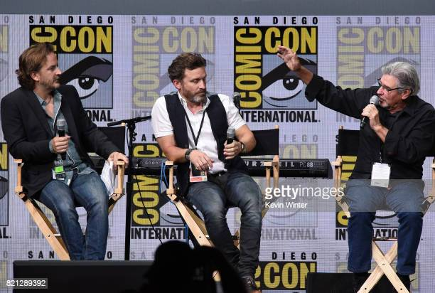 Actors Richard Speight Jr and Rob Benedict and director/producer Robert Singer at the 'Supernatural' panel during ComicCon International 2017 at San...