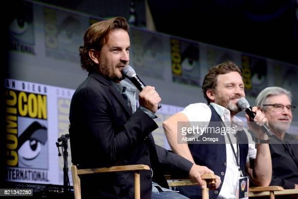 Actors Richard Speight Jr Rob Benedict and director/producer Robert Singer at the 'Supernatural' panel during ComicCon International 2017 at San...