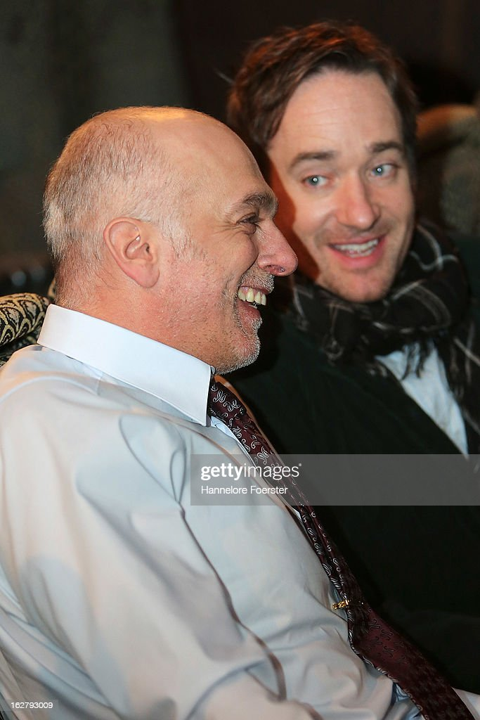 Actors Richard van Weyden (L) and Matthew Macfadyen on set during the filming of movie 'Epic' on February 27, 2013 in Frankfurt am Main, Germany.