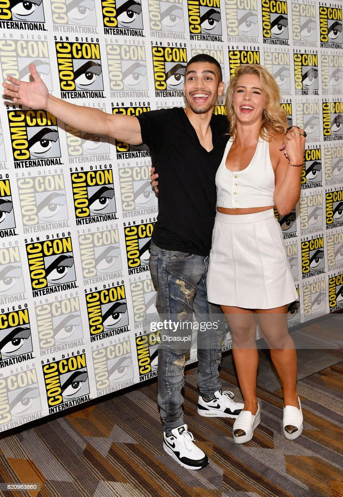 Actors Rick Gonzalez (L) and Emily Bett Rickards at the 'Arrow' Press Line during Comic-Con International 2017 at Hilton Bayfront on July 22, 2017 in San Diego, California.