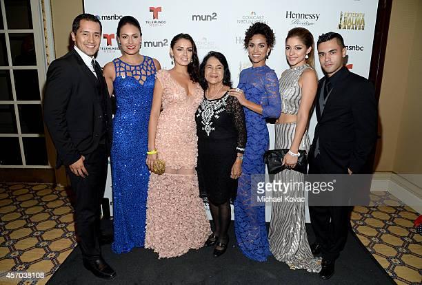 Actors Rick Mancia Jes Meza and Vannessa Vasquez Cofounder of the National Farmworkers Association Dolores Huerta actress Andrea Sixtos Miss...