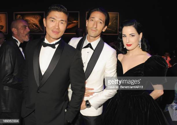 Actors Rick Yune Adrien Brody and Dita Von Teese attend amfAR's 20th Annual Cinema Against AIDS during The 66th Annual Cannes Film Festival at Hotel...