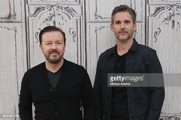 Actors Ricky Gervais and Eric Bana discuss their new film 'Special Correspondents' at AOL Studios in New York on April 26 2016 in New York City