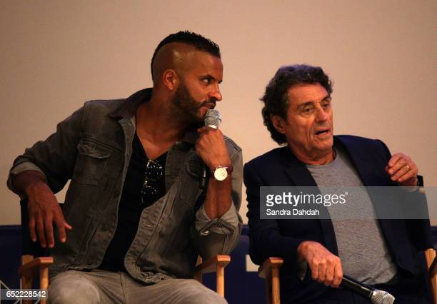 Actors Ricky Whittle and Ian McShane speaks on stage at the premiere of 'American Gods' during 2017 SXSW Conference and Festivals at Vimeo on March...