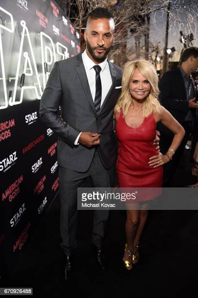 Actors Ricky Whittle and Kristin Chenoweth attend the 'American Gods' premiere at ArcLight Hollywood on April 20 2017 in Los Angeles California