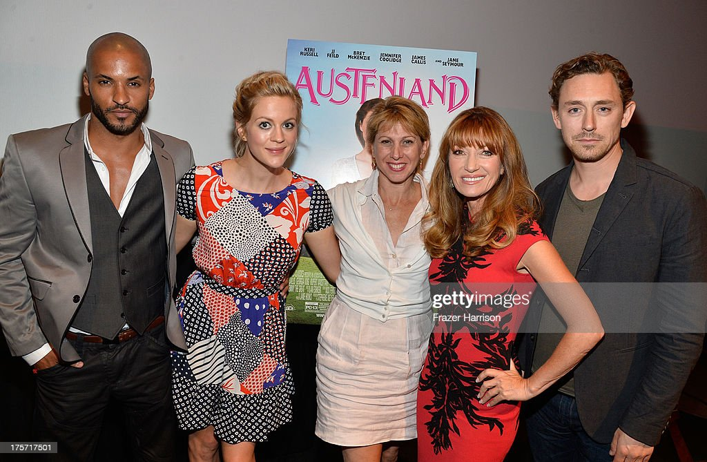 Actors Ricky Whittle, Georgia King, Founder/CEO of TheWrap Sharon Waxman, Jane Seymour, J.J Field attend TheWrap's Indie Series Screening of 'Austenland' at the Landmark Theater on August 6, 2013 in Los Angeles, California.