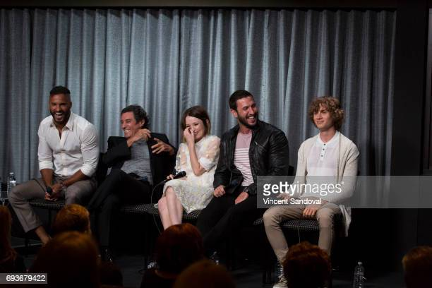 Actors Ricky Whittle Ian McShane Emily Browning Pablo Schreiber and Bruce Langley attend SAGAFTRA Foundation's Conversations with 'American Gods' at...