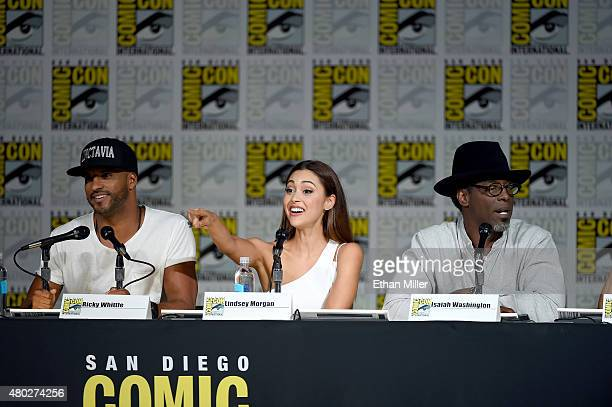 Actors Ricky Whittle Lindsey Morgan and Isaiah Washington attend a special video presentation and panel for 'The 100' during ComicCon International...