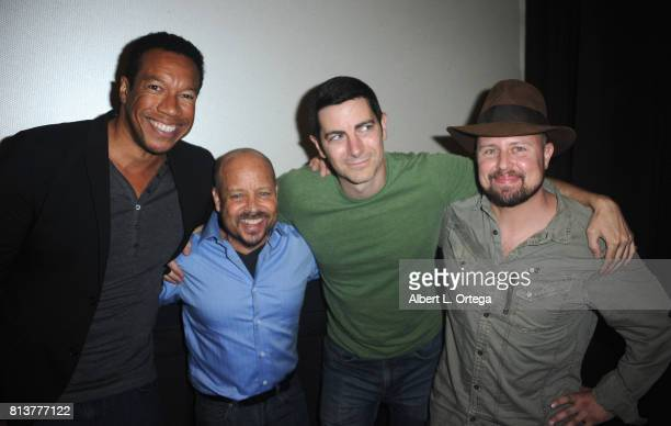 Actors Rico E Anderson Aron Eisenberg and Ryan T Husk at the Premiere Of 'Renegades The Requiem' held at Laemmle Theater on July 12 2017 in North...