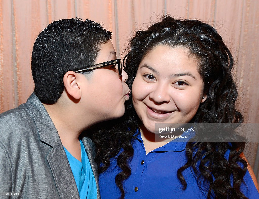 Actors Rico Rodriguez and his sister Raini Rodriguez in the green room during the 19th Annual Screen Actors Guild Awards red carpet roll out and presenter rehearsals at The Shrine Auditorium on January 26, 2013 in Los Angeles, California.