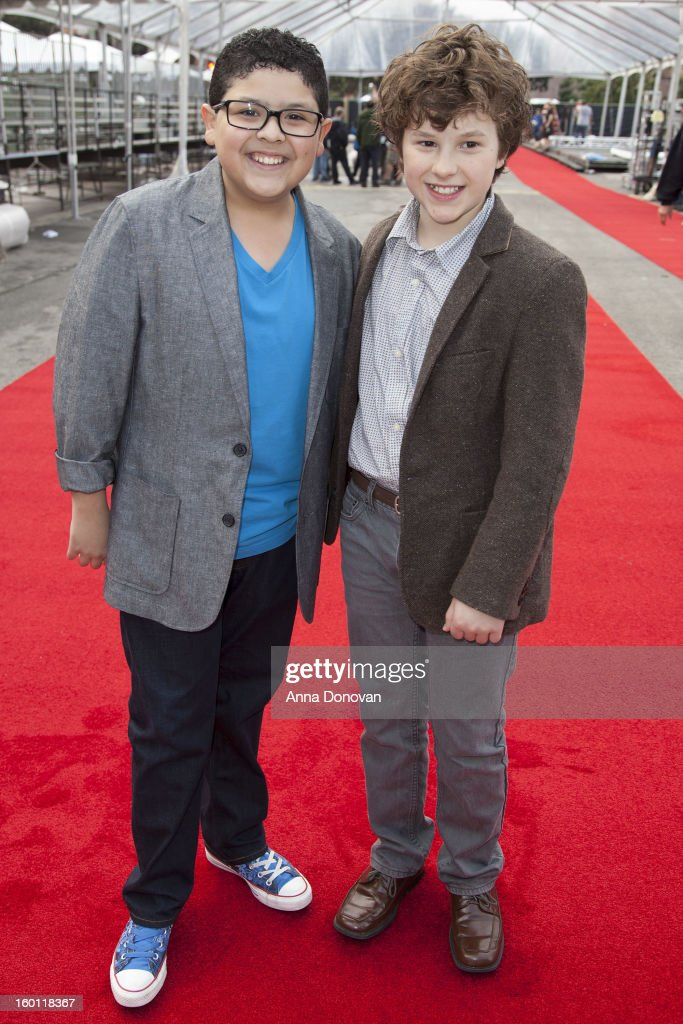 Actors Rico Rodriguez (L) and Nolan Gould participating in the Red Carpet Roll Out for The 19th Annual Screen Actors Guild Awards at The Shrine Expo Hall on January 26, 2013 in Los Angeles, California.