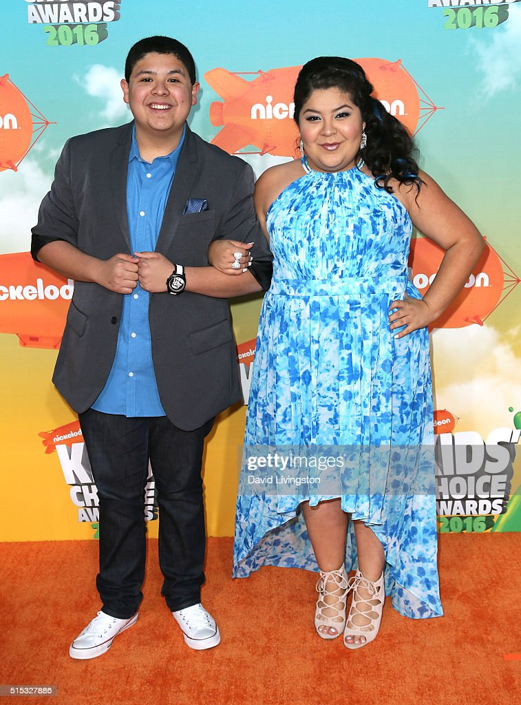 Actors Rico Rodriguez and Raini Rodrigue attend Nickelodeon's 2016 Kids' Choice Awards at The Forum on March 12 2016 in Inglewood California