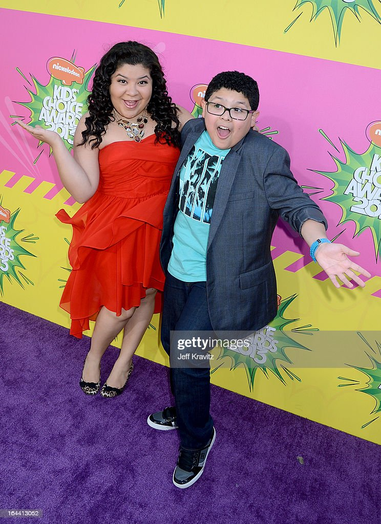 Actors Rico Rodriguez (R) and Raini Rodriguez arrive at Nickelodeon's 26th Annual Kids' Choice Awards at USC Galen Center on March 23, 2013 in Los Angeles, California.