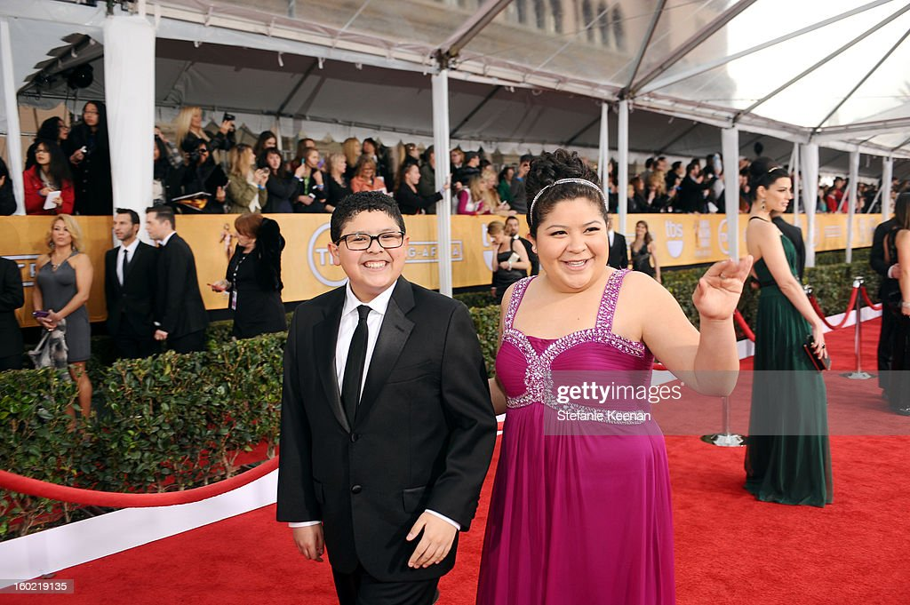 Actors Rico Rodriguez and Raini Rodriguez attend the 19th Annual Screen Actors Guild Awards at The Shrine Auditorium on January 27, 2013 in Los Angeles, California. (Photo by Stefanie Keenan/WireImage) 23116_025_1296.JPG
