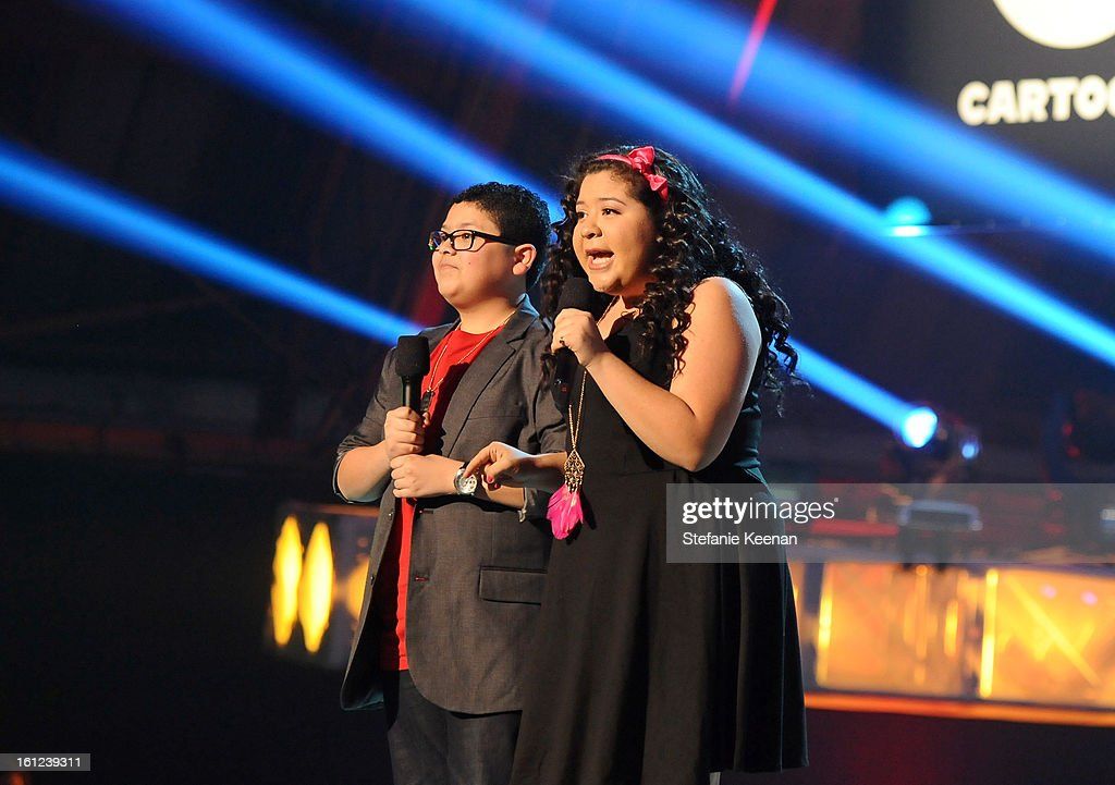 Actors Rico Rodriguez and Raini Rodriguez speak onstage during the Third Annual Hall of Game Awards hosted by Cartoon Network at Barker Hangar on February 9, 2013 in Santa Monica, California. 23270_003_SK_1289.JPG