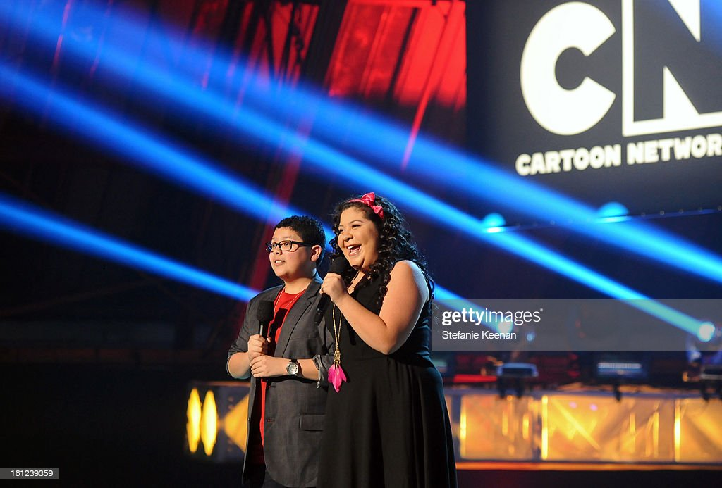 Actors Rico Rodriguez and Raini Rodriguez speak onstage during the Third Annual Hall of Game Awards hosted by Cartoon Network at Barker Hangar on February 9, 2013 in Santa Monica, California. 23270_003_SK_1294.JPG