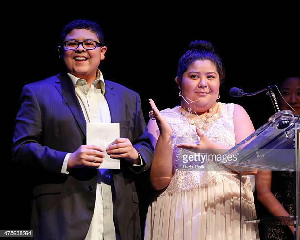 Actors Rico Rodriguez and Raini Rpdrogiez speak on stage at the 4th Annual Jerry Herman Awards at the Pantages Theatre on June 1 2015 in Hollywood...