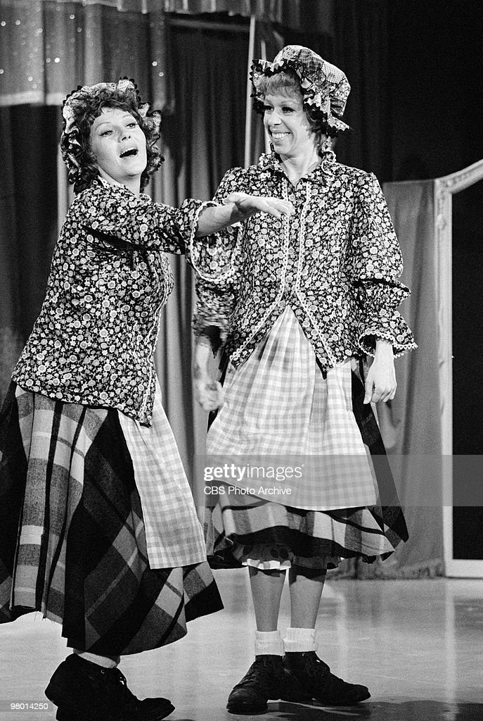 Actors Rita Hayworth and Carol Burnett perform in a scene from 'The Carol Burnett Show' which was filmed on January 22 1971 in Los Angeles California