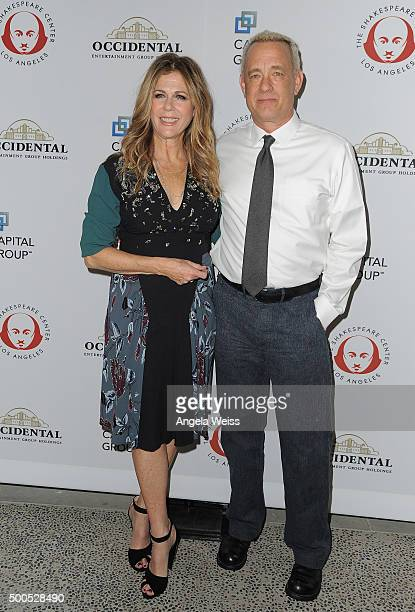 Actors Rita Wilson and Tom Hanks arrive at The Shakespeare Center of Los Angeles 25th Annual Simply Shakespeare Benefit at The Broad Stage on...
