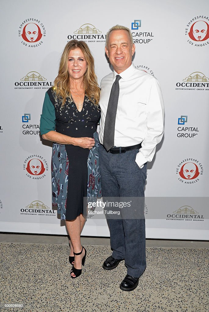 Actors <a gi-track='captionPersonalityLinkClicked' href=/galleries/search?phrase=Rita+Wilson&family=editorial&specificpeople=202642 ng-click='$event.stopPropagation()'>Rita Wilson</a> and <a gi-track='captionPersonalityLinkClicked' href=/galleries/search?phrase=Tom+Hanks&family=editorial&specificpeople=201790 ng-click='$event.stopPropagation()'>Tom Hanks</a> attend the 25th Annual Simply Shakespeare Benefit for the Shakespeare Center of Los Angeles at The Broad Stage on December 8, 2015 in Santa Monica, California.