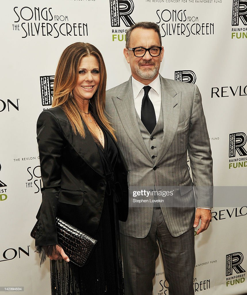 Actors <a gi-track='captionPersonalityLinkClicked' href=/galleries/search?phrase=Rita+Wilson&family=editorial&specificpeople=202642 ng-click='$event.stopPropagation()'>Rita Wilson</a> and <a gi-track='captionPersonalityLinkClicked' href=/galleries/search?phrase=Tom+Hanks&family=editorial&specificpeople=201790 ng-click='$event.stopPropagation()'>Tom Hanks</a> attend the after party for the 2012 Concert for the Rainforest Fund at The Pierre Hotel on April 3, 2012 in New York City.