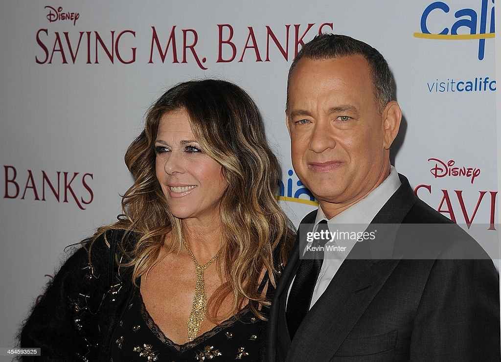 Actors <a gi-track='captionPersonalityLinkClicked' href=/galleries/search?phrase=Rita+Wilson+-+Actress&family=editorial&specificpeople=202642 ng-click='$event.stopPropagation()'>Rita Wilson</a> and <a gi-track='captionPersonalityLinkClicked' href=/galleries/search?phrase=Tom+Hanks&family=editorial&specificpeople=201790 ng-click='$event.stopPropagation()'>Tom Hanks</a> attend the U.S. premiere of Disney's 'Saving Mr. Banks', the untold backstory of how the classic film 'Mary Poppins' made it to the screen, at the Walt Disney Studios on December 9, 2013 in Burbank, California. The film opens this Holiday season.