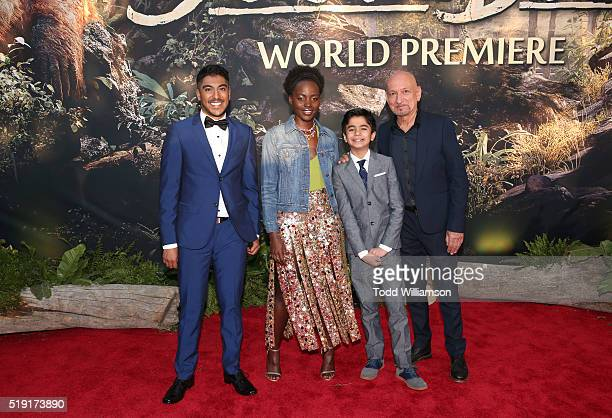 Actors Ritesh Rajan Lupita Nyong'o Neel Sethi and Ben Kingsley attend the premiere of Disney's 'The Jungle Book' at the El Capitan Theatre on April 4...