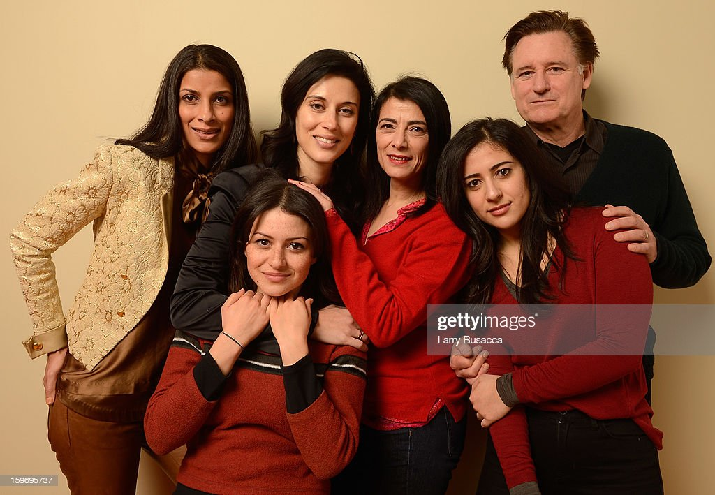 Actors Ritu Singh Pande, Alia Shawkat, filmmaker Cherien Dabis and actors Hiam Abbass, Nadine Malouf and Bill Pullman pose for a portrait during the 2013 Sundance Film Festival at the Getty Images Portrait Studio at Village at the Lift on January 18, 2013 in Park City, Utah.