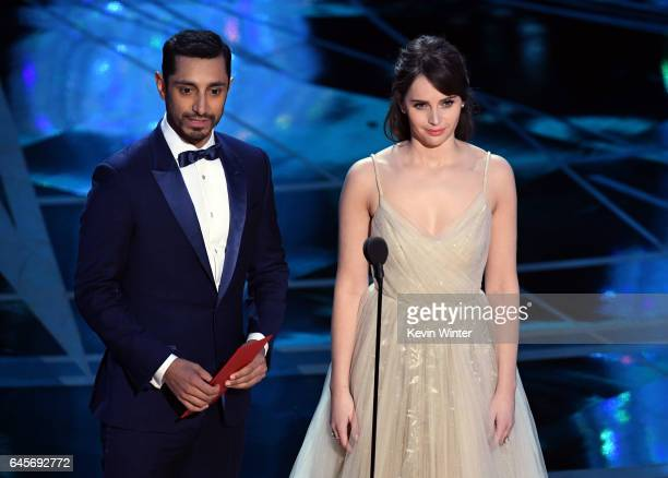 Actors Riz Ahmed and Felicity Jones speak onstage during the 89th Annual Academy Awards at Hollywood Highland Center on February 26 2017 in Hollywood...