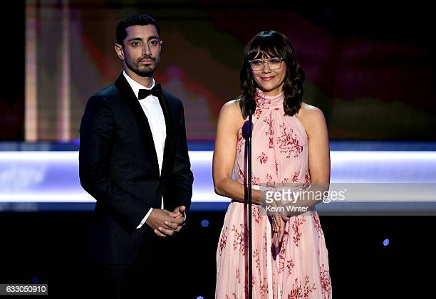 Actors Riz Ahmed and Rashida Jones speak onstage during The 23rd Annual Screen Actors Guild Awards at The Shrine Auditorium on January 29 2017 in Los...